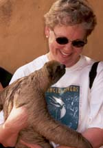 Tourist with sloth